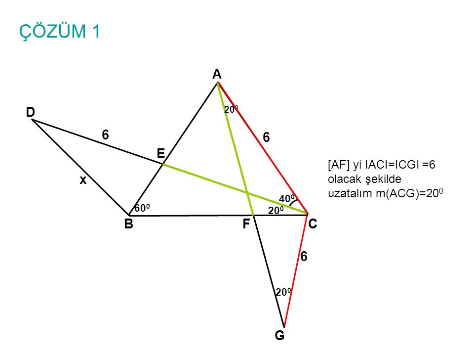 ÇÖZÜM 1 A. D. 200. 6. 6. E. [AF] yi IACI=ICGI =6 olacak şekilde uzatalım m(ACG)=200. x. 400.